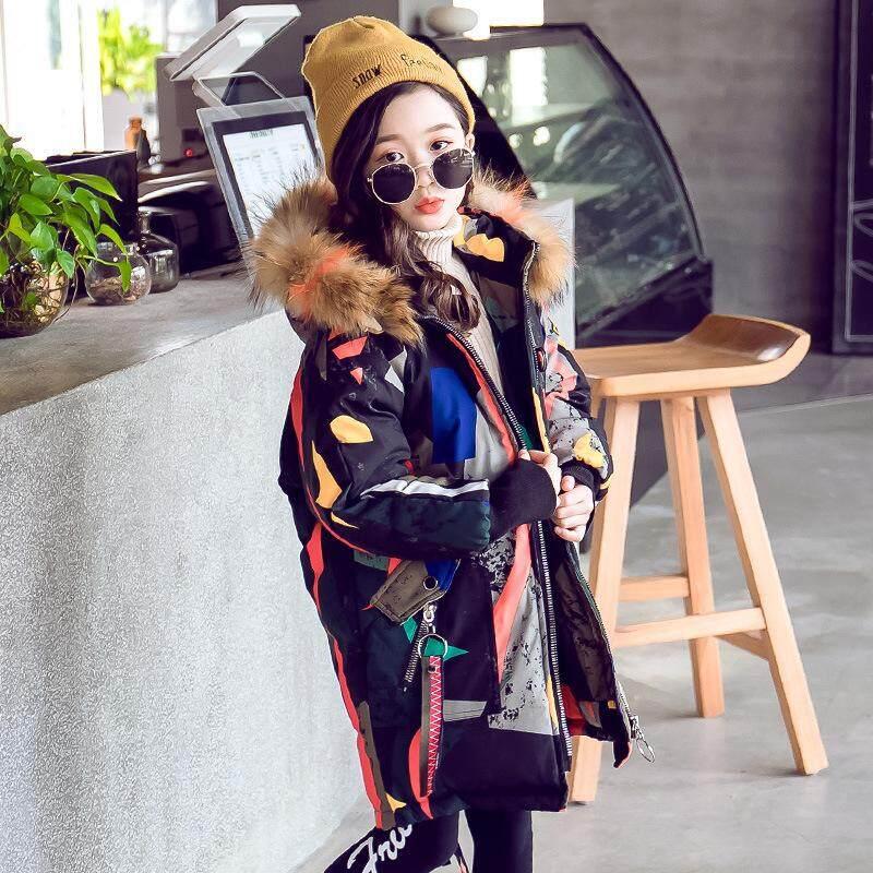 Giá bán YORCHID-30 độ Bé Gái quần áo ấm Xuống áo khoác cho bé gái quần áo Mùa Đông 2019 Làm Dày Áo Khoác Dù thật Lông Có Mũ Trẻ Em áo khoác ngoài Áo Khoác