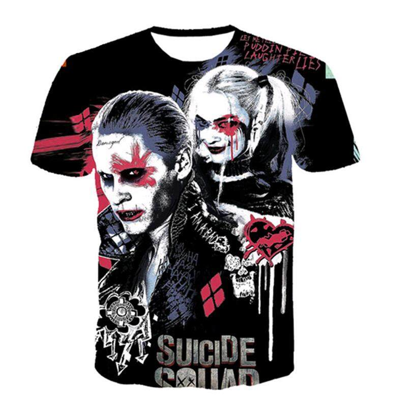 3765ab45def2 Unisex Spring and Summer New Print 3D Anime Suicide Squad Short Sleeve  Fashion