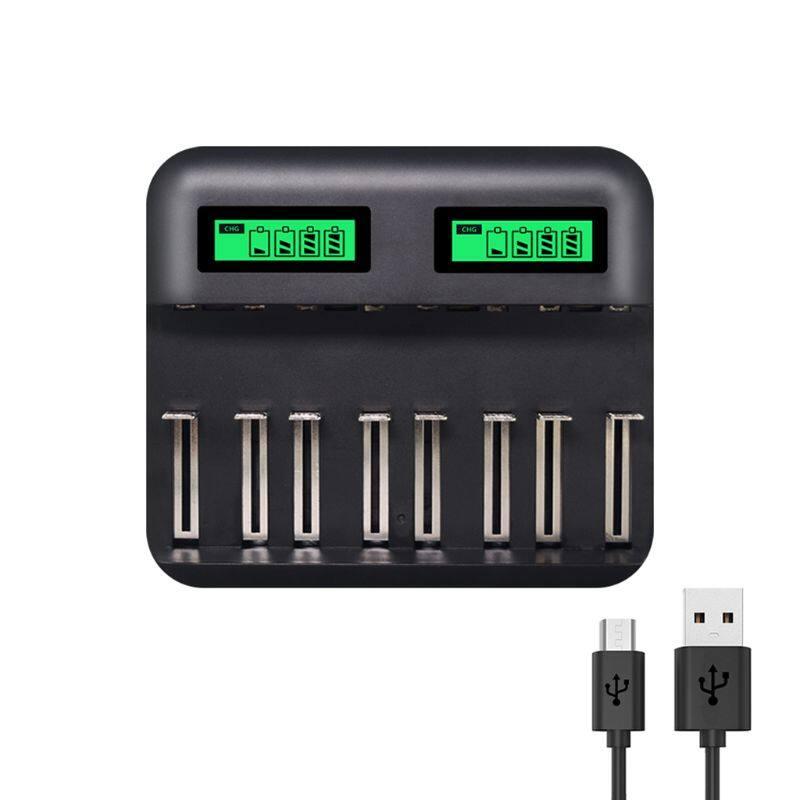 Màn Hình LCD Thông Minh 8 Khe Sạc Pin USB, Cho Pin Cỡ AA AAA C D