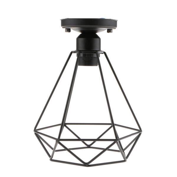 Perfk 2x Retro Wire Diamond Pendant Ceiling Light Cage Lamp Shade Lounge Lighting