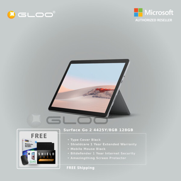 Microsoft Surface Go 2 4425Y/8GB 128GB + Surface Go Type Cover [Choose Color] + Shieldcare 1 Year Extended Warranty + Bitdefender 1 Year Internet Security + Mobile Mouse [Choose Color] + Amazingthing Screen Protector Malaysia