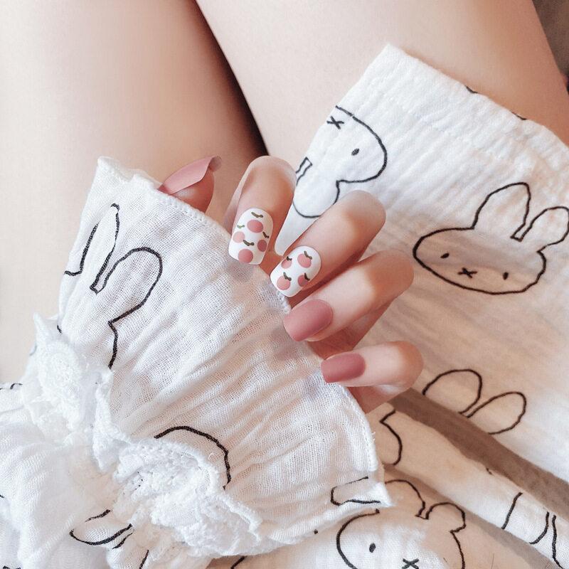 24 Cái Màu Ngọt Ngào Frosted Matte Fairy Girl Wearable Full Bìa Ngón Tay Móng Tay Giả Trái Cây Trang Trí Nội Thất Ngắn Đầu Vuông Nails giá rẻ