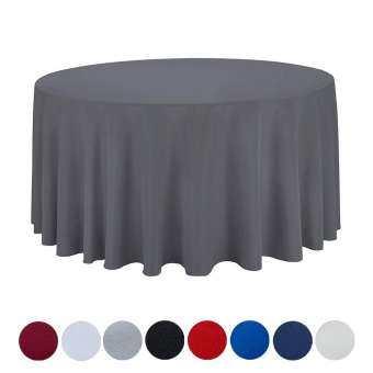 YiyiLai กลมแข็งแรงผ้าปูโต๊ะงานปาร์ตี้ผ้าปูโต๊ะผ้าคลุมโต๊ะแต่งงานเส้นผ่าศูนย์กลาง 48 ''/122 ซม.-