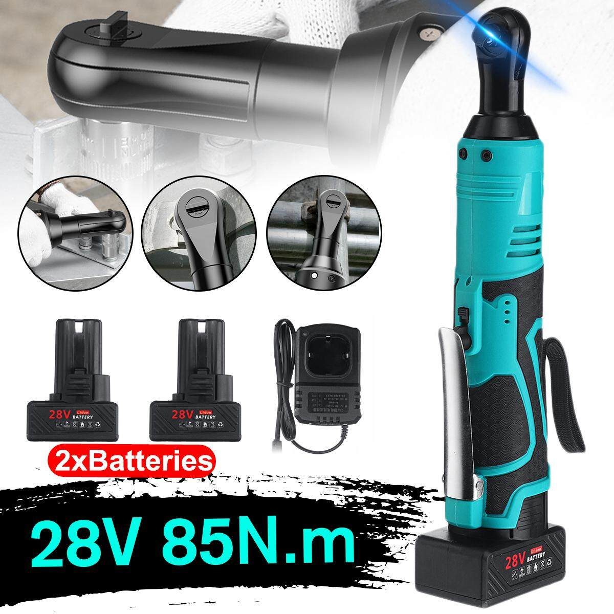 28V 7800mAh 2 x Batteries & Charger Kit 260RPM 85N.m 3/8 Cordless Electric Ratchet Wrench Tool With LED Working Light