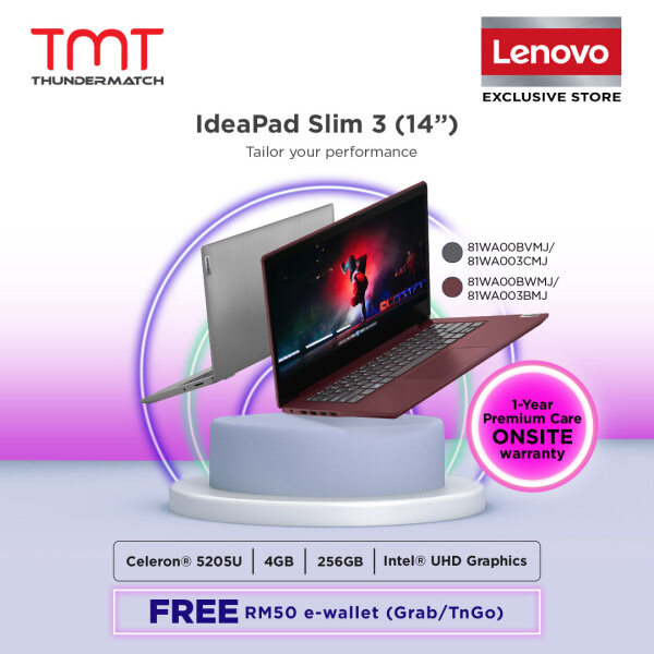 Lenovo Ideapad 3 14IML05 81WA003BMJ / 81WA003CMJ Laptop ( Celeron 5205U, 4GB, 256GB SSD, Intel, W10 ) Malaysia