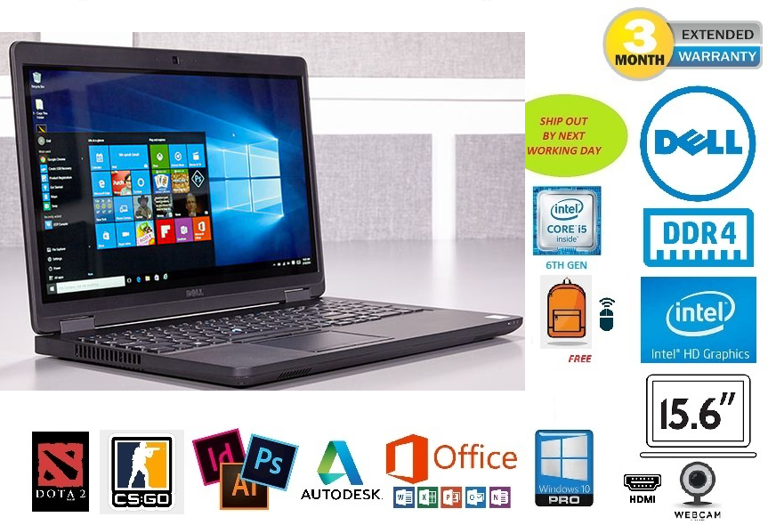 DELL LATITUDE E5570 BUSINESS-CLASS 15.6-INCH SLIM ULTRABOOK | INTEL 6TH GEN CORE i5 | 8GB DDR4 RAM | GENUINE WINDOWS 10 PROFESSIONAL 64-BIT | FREE GIFT: BACKPACK & WIRELESS MOUSE Malaysia