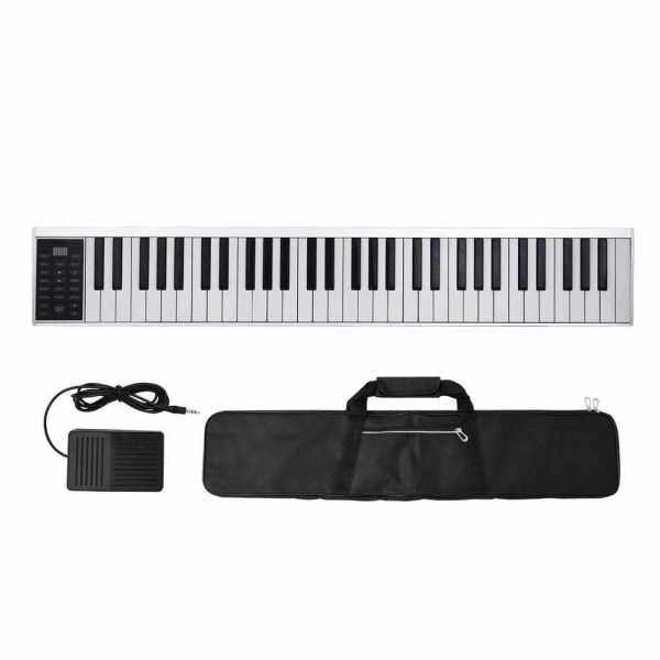 61 Keys Digital Electronic Piano Keyboard MIDI Output 128 Tones 128 Rhythms 14 Demo Songs Recording Programming Playback Tutorial with Sustain Pedal Built-in Stereo Speakers Headphone Speaker Output Built-in Battery (Eu) Malaysia