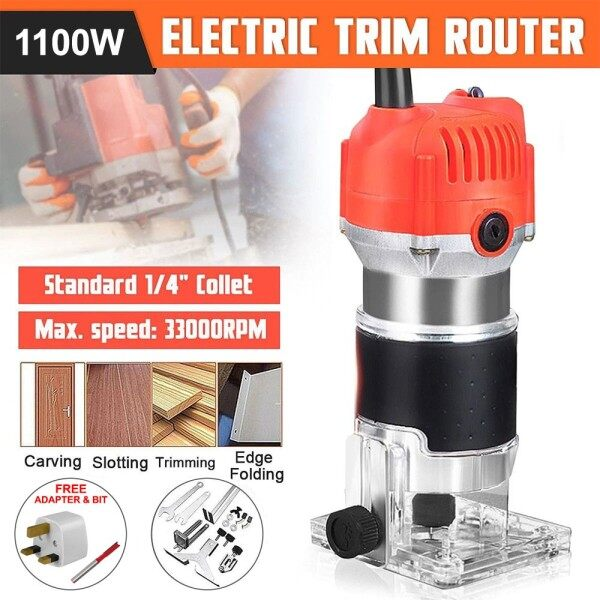 Electric Hand Trimmer Wood Router 33000 RPM Clean Cuts Tool Set Aluminum 3709 (Free 1 Trimmer Bit)