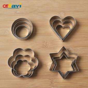 12 Pcs Cookie แม่พิมพ์เหล็กสเตนเลส DIY หัวใจทรงกลมดอกไม้ Hexagonal Star บิสกิตแม่พิมพ์พิมพ์คุกกี้อบขนมเครื่องมือ-