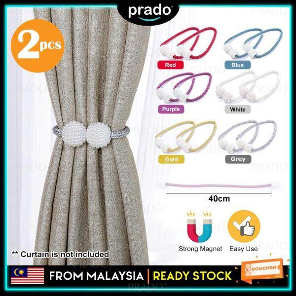 PRADO Malaysia 2pcs Premium Pearl Design Magnetic Curtain Holder Buckle Tieback Clips Home Window Accessories Pengikat Langsir