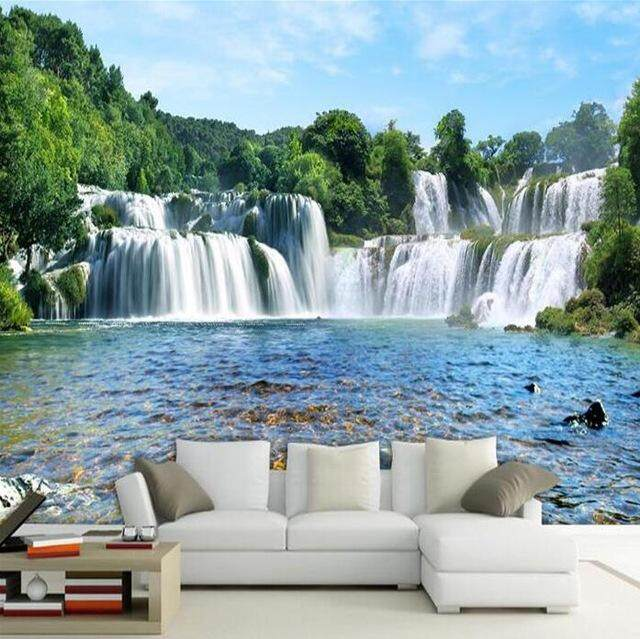 3D Wallpaper Vinyl Wall Sticker Nature Huge Waterfall Photo Sticker For Living Room Sofa TV Background Luxury Decor Wall paper
