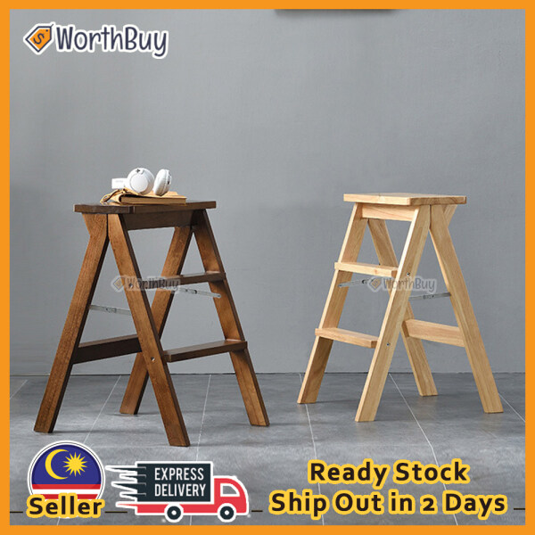 Worthbuy 2 In 1 Space Saving Foldable 3 Steps Ladder Stool With Long And Widen Pedal