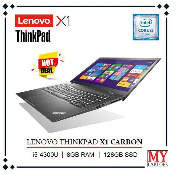 LENOVO THINKPAD X1 CARBON [CORE I5-4300U TURBO BOOST 2.50GHz / 8GB DDR3 / 128GB SSD / ULTRABOOK / WINDOWS 10 PRO Malaysia