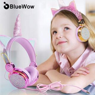 BlueWow B121 Phim Hoạt Hình Dễ Thương Kim Cương Unicorn Girl Gift 85dB An Toàn Khối Lượng Giới Hạn Tai Nghe Trẻ Em Có Dây Với Tai Nghe Micrô Âm Thanh Nổi Tương Thích Cho Máy Tính Và Điện Thoại Di Động Cho Trẻ Em Học Tập Trực Tuyến thumbnail
