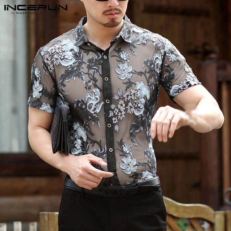 442a07c11149 INCERUN Mens Short Sleeve Floral Embroidered Mesh Party Beach T Shirt Tops  Tee(Pattern Reference