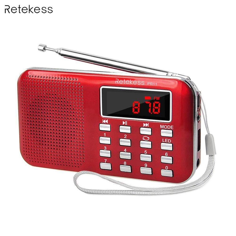 RETEKESS PR11 Portable FM Radio Receiver 2 Band Digital Mini Pocket with  USB Radio MP3 Player Supports TF Card USB Disk