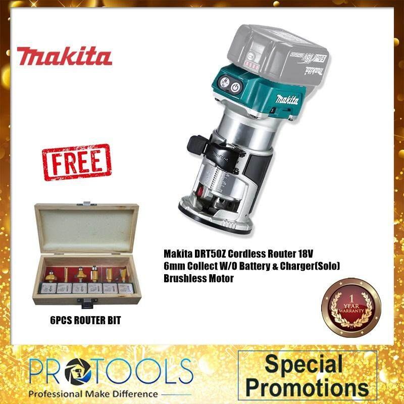 MAKITA DRT50Z CORDLESS ROUTER 18V 6MM COLLECT(SOLO)-BODY ONLY BRUSHLESS MOTOR FOC 6PCS ROUTER BIT
