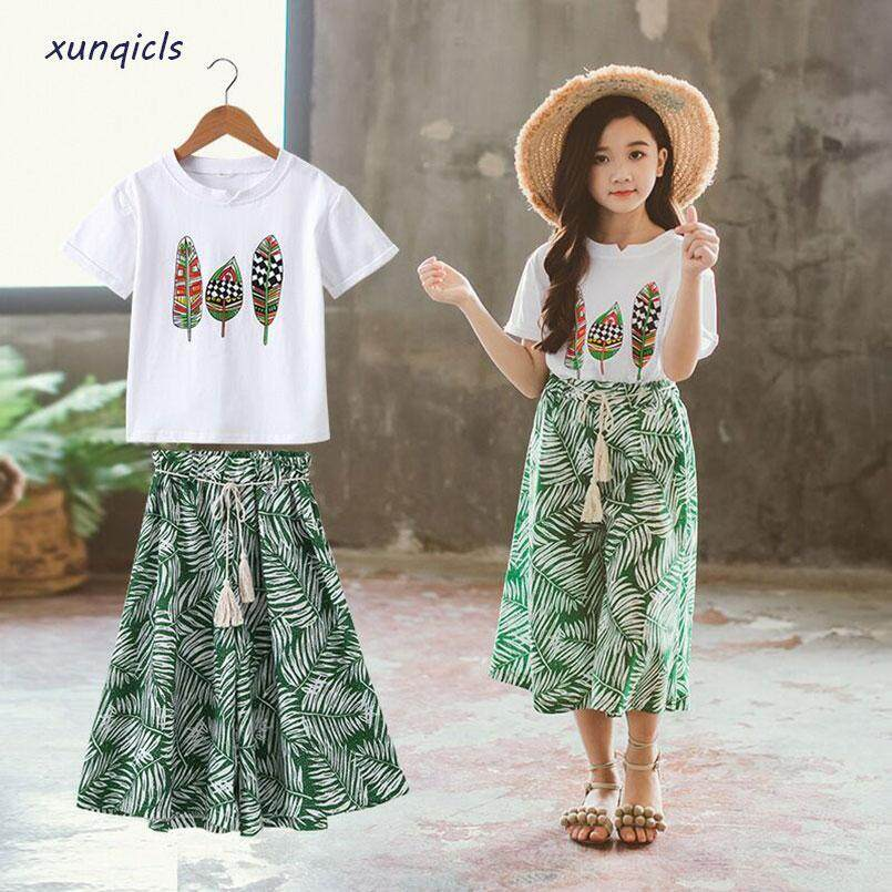 ceca9d7592f05 Summer Girls Clothes Sets Baby Girl Short Sleeve Shirt Top+Shorts Suits  Kids Clothing Printed Children's Clothes 2pcs