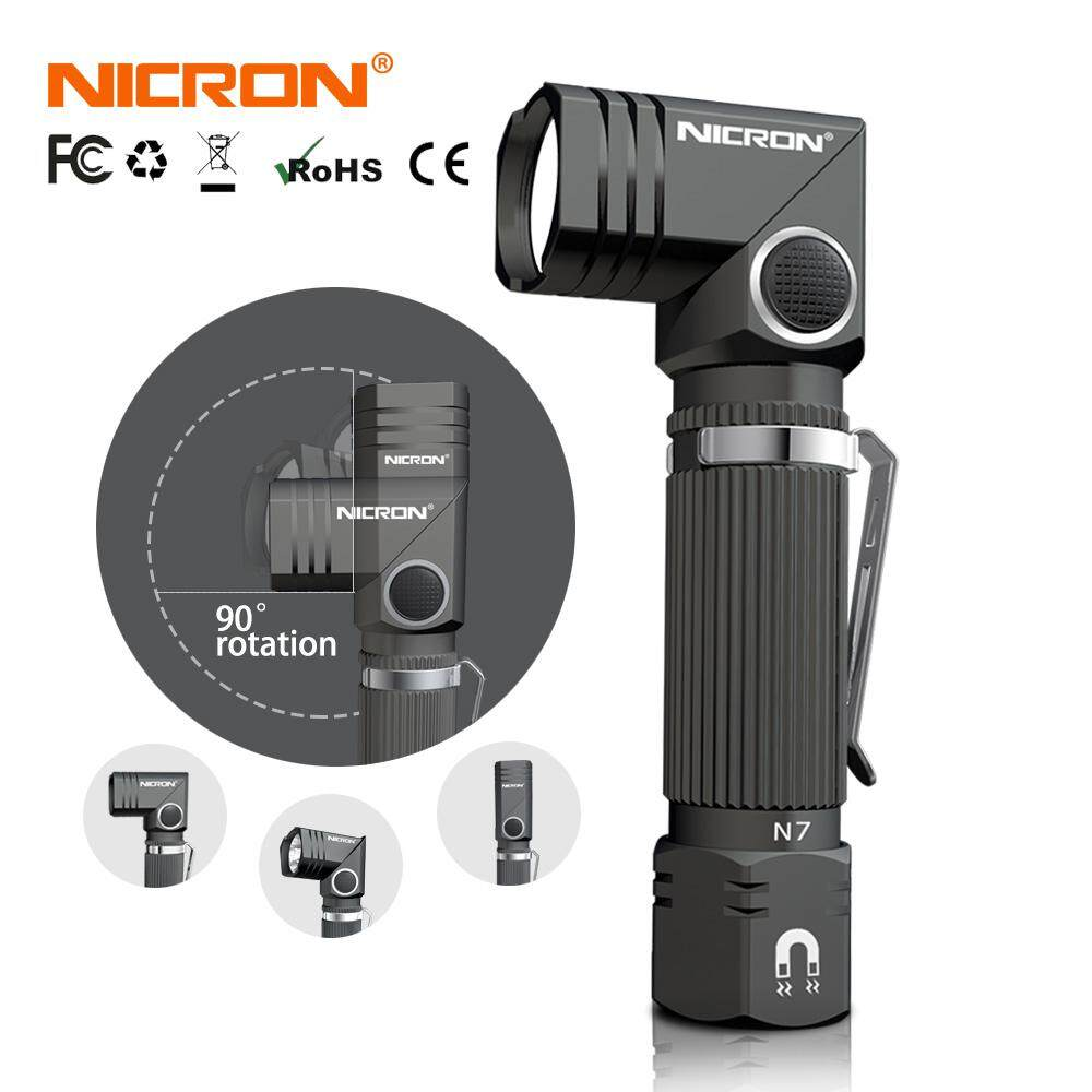 NICRON Led Flashlight Handfree Dual Fuel 90 Degree Twist Rotary Clip 600LM Waterproof Magnet Mini Lighting LED Torch Outdoor N7 (B74e)