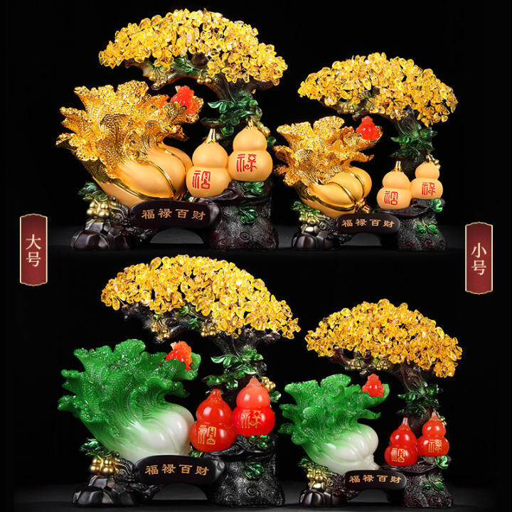 Lucky Cash Cow Jade Cabbage Gourd Furnishing Articles And Opening Gifts Crystal Rich Tree Home Sitting Room Ark Adornment Lazada