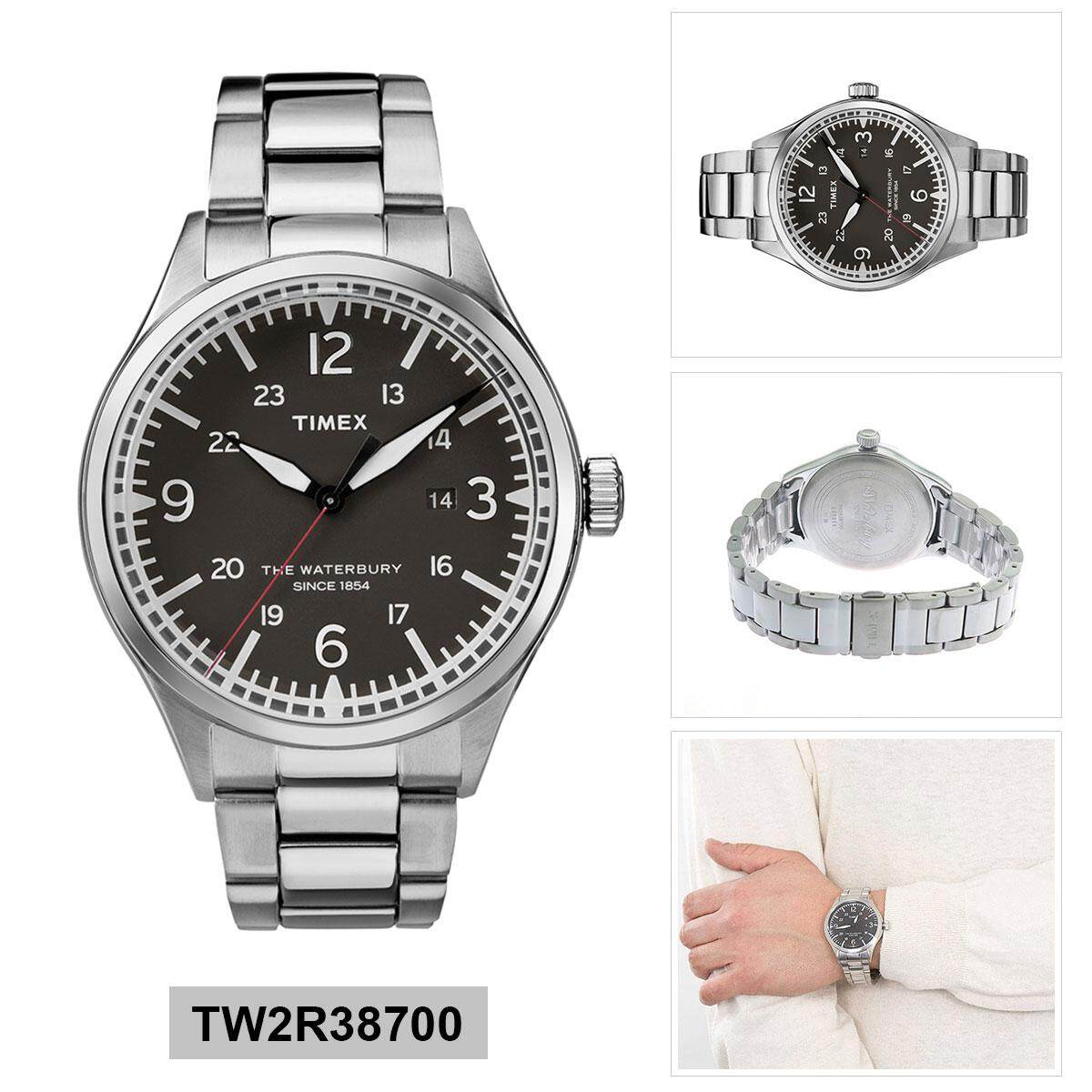1b7997353cb5 Timex Waterbury Traditional Silver Stainless-Steel Case Stainless-Steel  Bracelet Mens TW2R38700