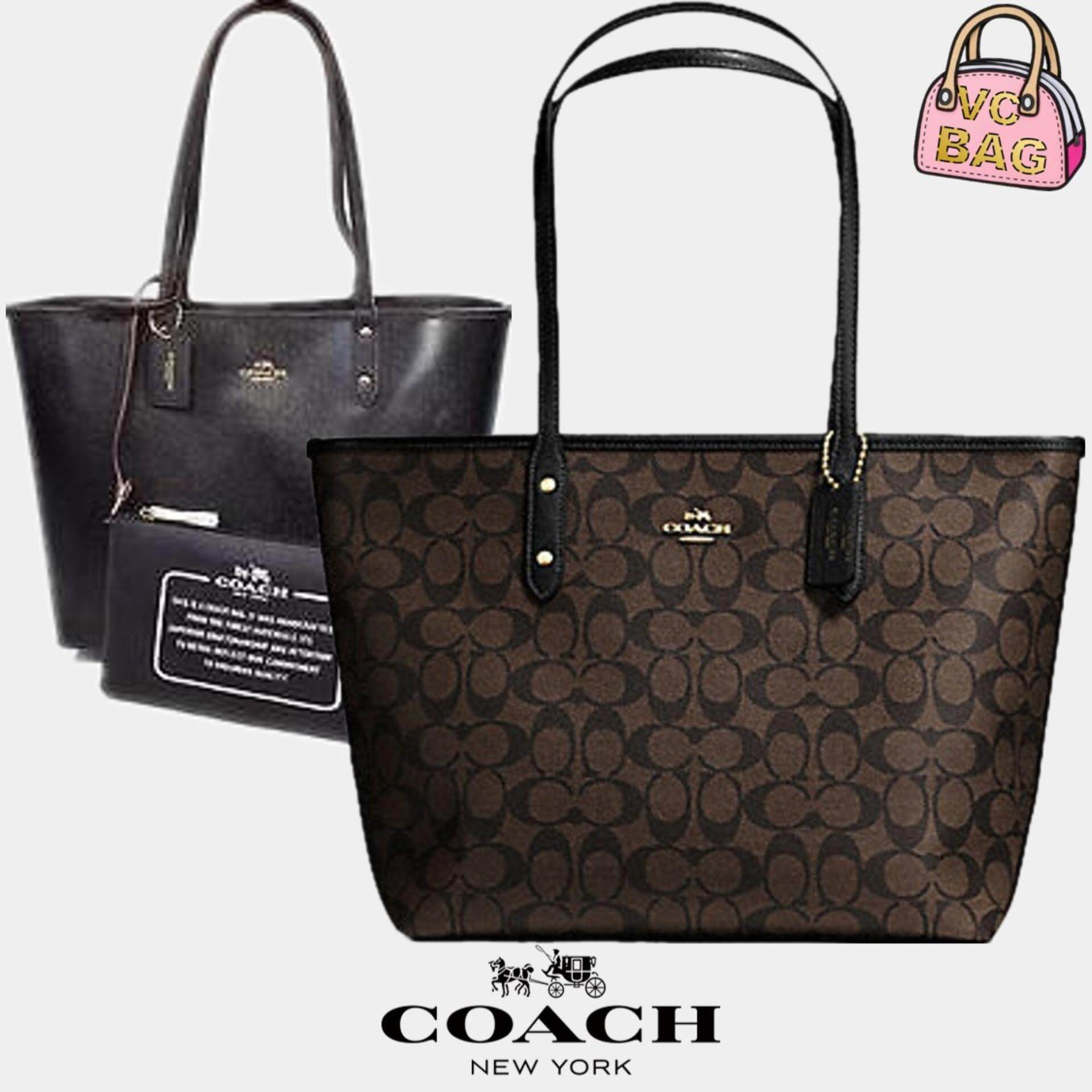 28dadd8e COACH F36658 Reversible City Tote in Signature Bag [Gold/Brown/Black]