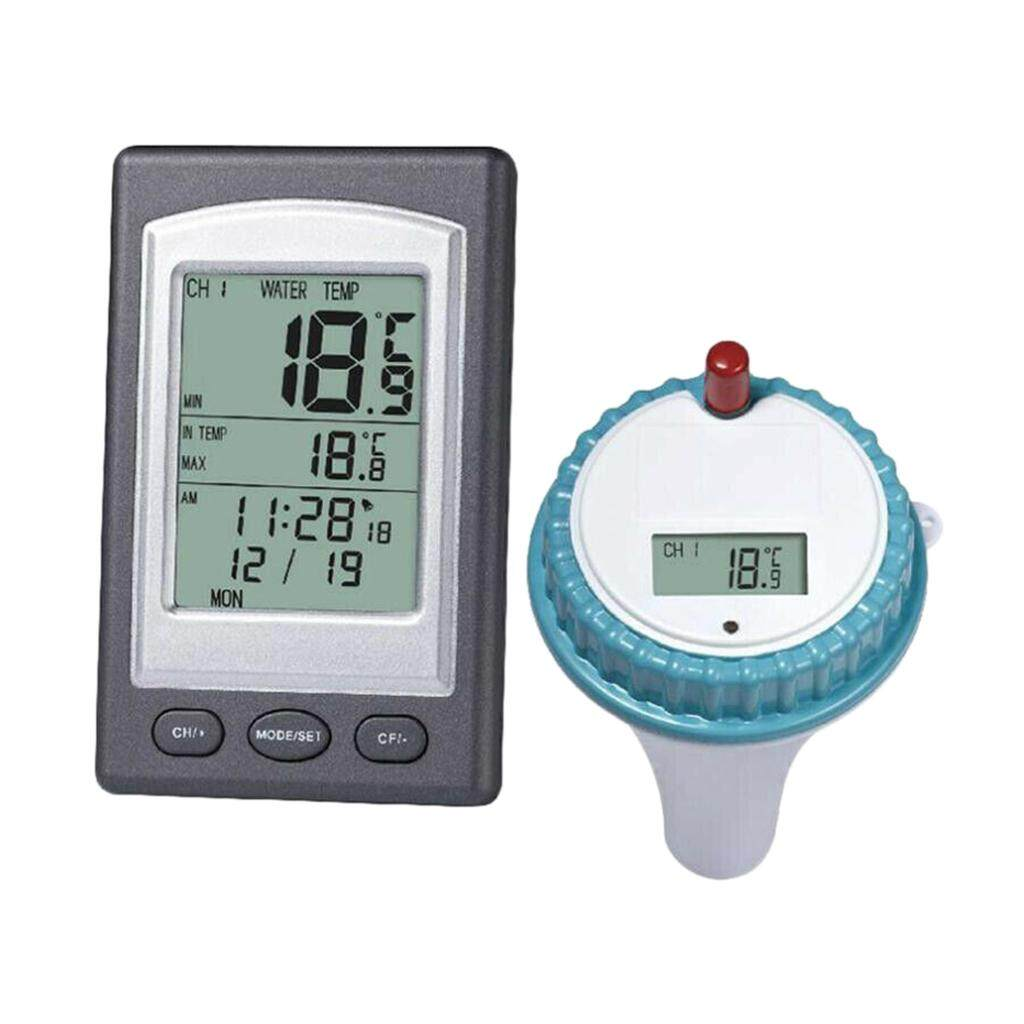 BolehDeals Wireless Digital Swimming Pool Thermometer LCD Display with Time Alarm