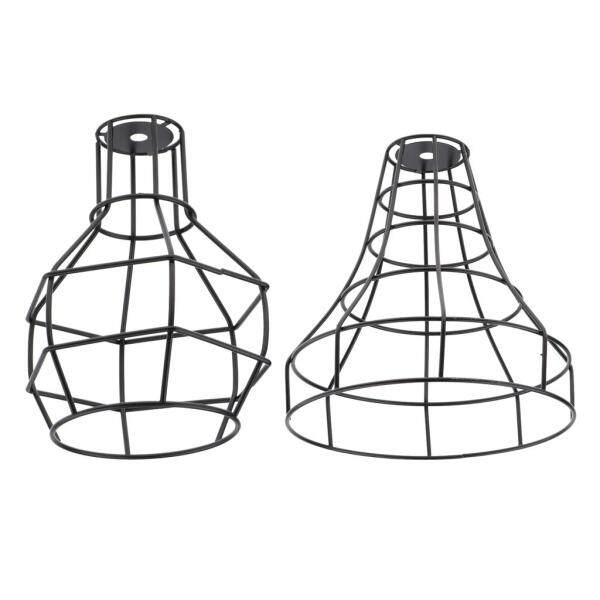 Fityle 2x Vintage Iron Wire Cage Hanging Lamp Shade Pendant Light Chandelier Shade