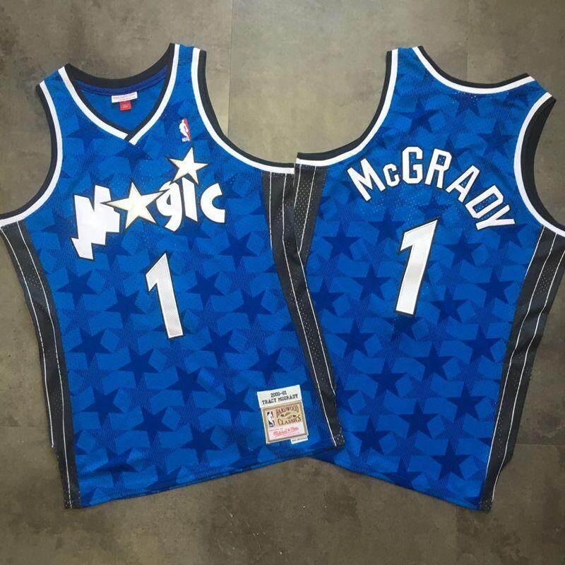 Lazada Ưu Đãi Khi Mua Mùa 2020-2021 Áo Thể Thao Nổi Tiếng Của Người Chơi NBA McGrady Orlando Magic Mitchell & Ness Hardwood Classics Swingman Jersey-Màu Xanh