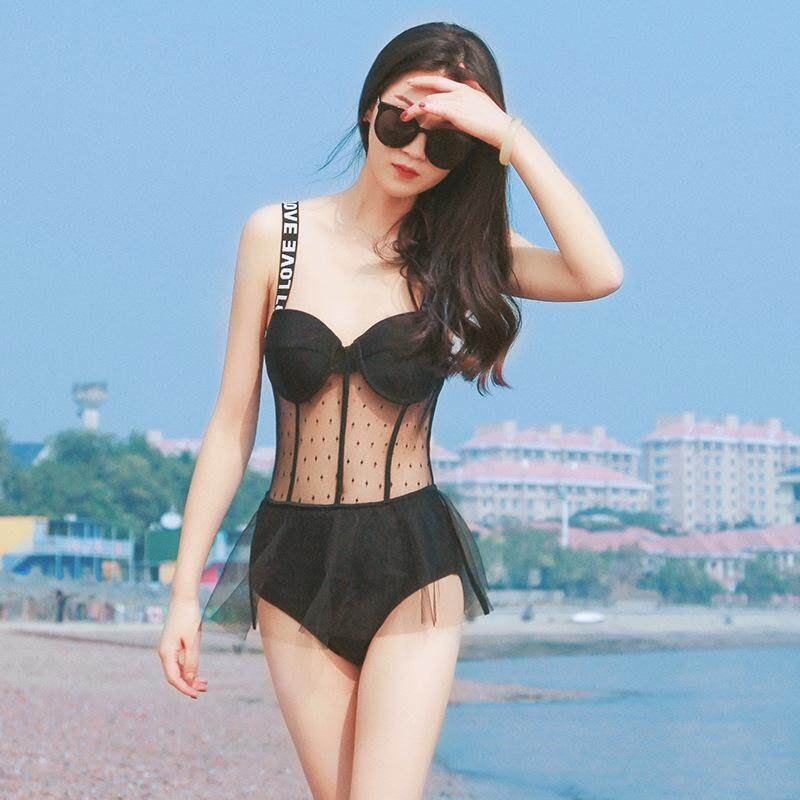 e749416b16 New Women's One-piece Swimsuit The Waist Abdomen Transparent Wave Point  Lace Swimsuit Students Gather