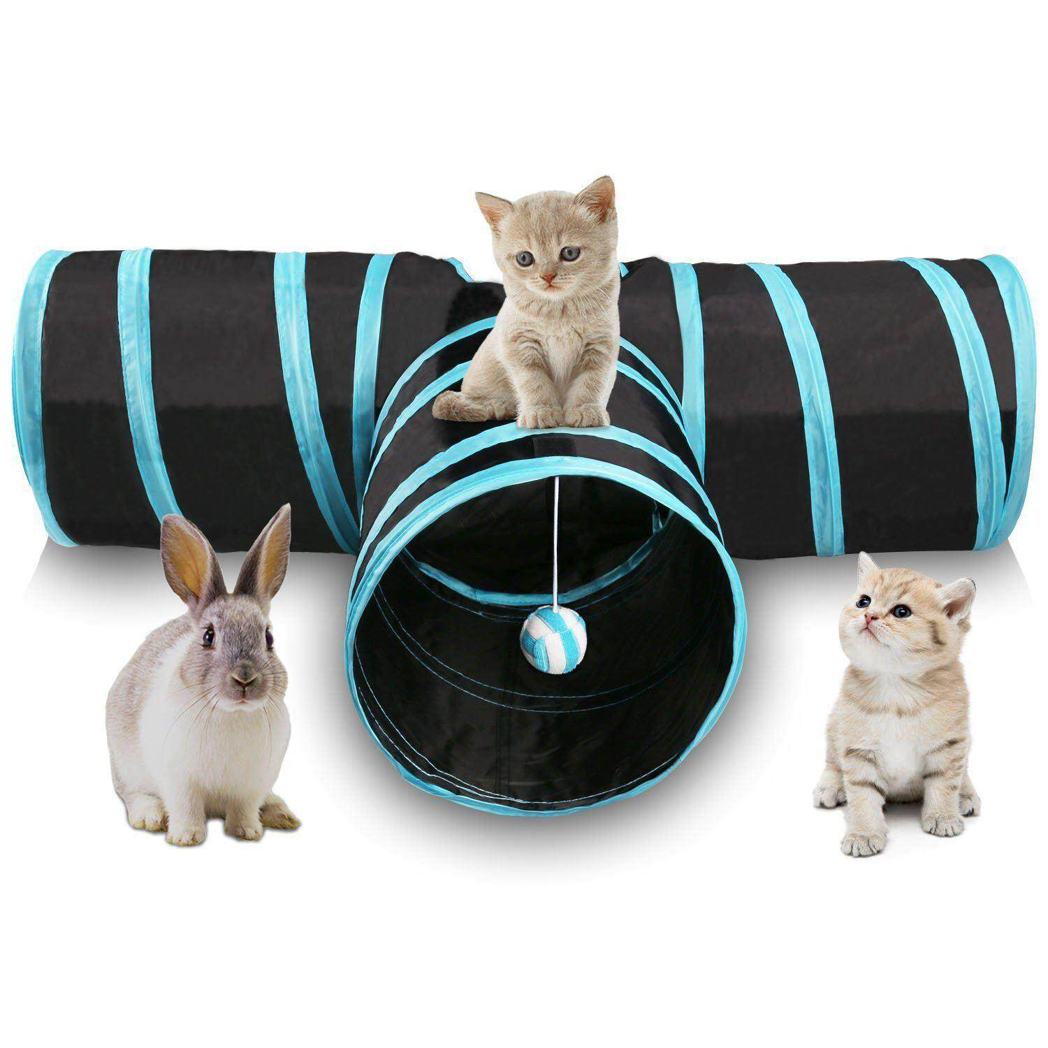Cat Tunnel 3 Way Collapsible Pet Cat Play Tunnel With Ringing Ball, Spacious Tube Fun For Cat Puppy Kitten Blue + Black By Lovefreebuy.