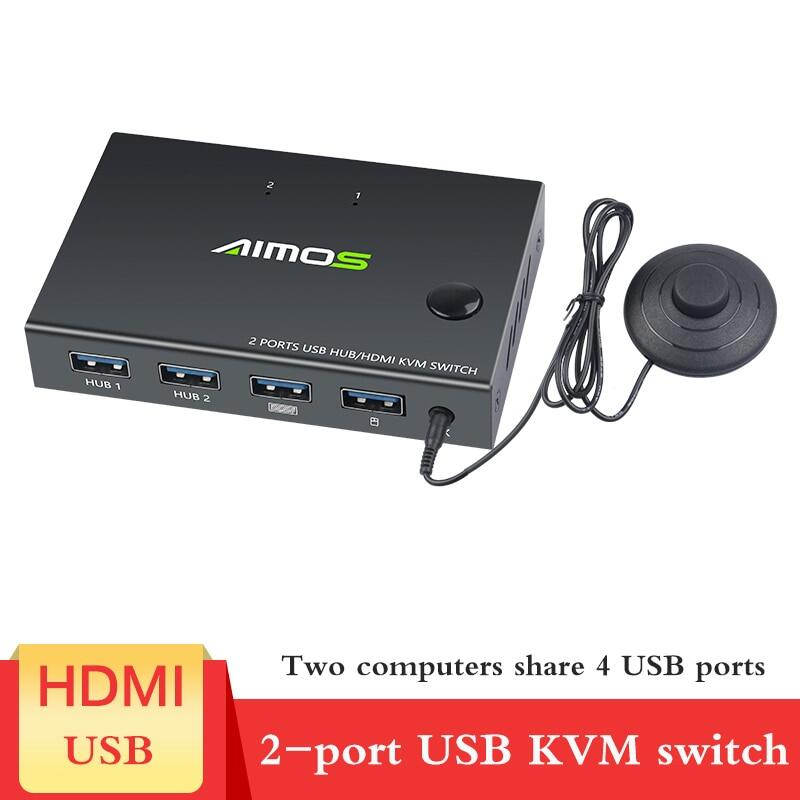 Bộ Chuyển Đổi USB HDMI KVM Hộp Chuyển Đổi KVM Thiết Kế 2 Trong 1 Video Hiển Thị Bộ Chia Công Tắc USB 4K Chuột Chia Sẻ Bàn Phím Cho 2 Chiếc