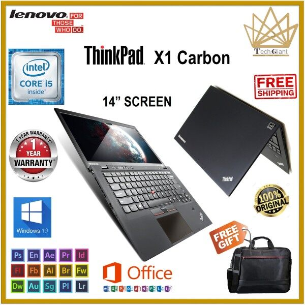 LENOVO ThinkPad X1 CARBON / CORE i5-3337U (3rd GEN) 14 HD / 4GB RAM / 128GB SSD / 14 inches HD SCREEN / WINDOWS 10 PRO / REFURBISHED NOTEBOOK Malaysia