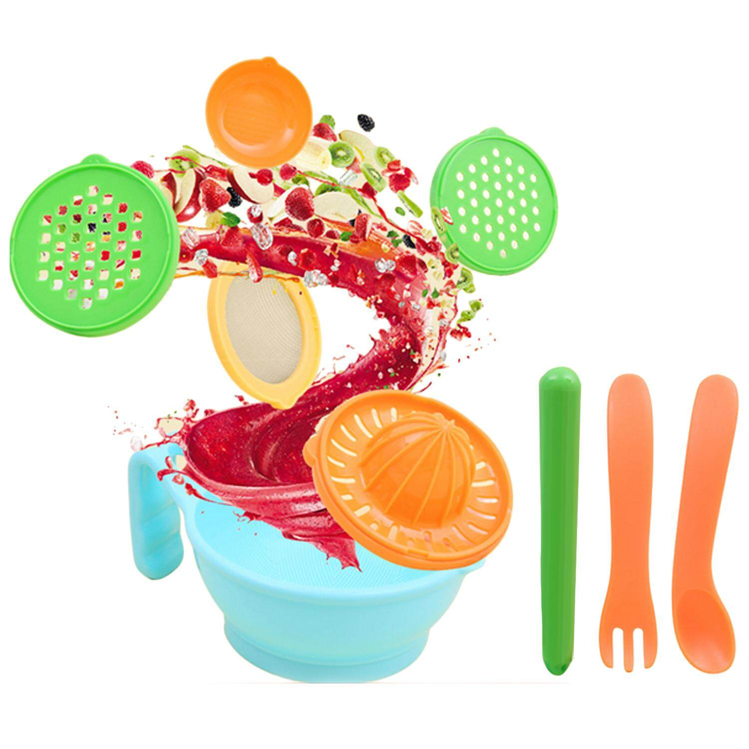 9pcs Multifunction Manual Baby Food Mill Grinding Bowl Grinder Processor Set For Diy Homemade Baby Fruit Mud By Jelly Store.