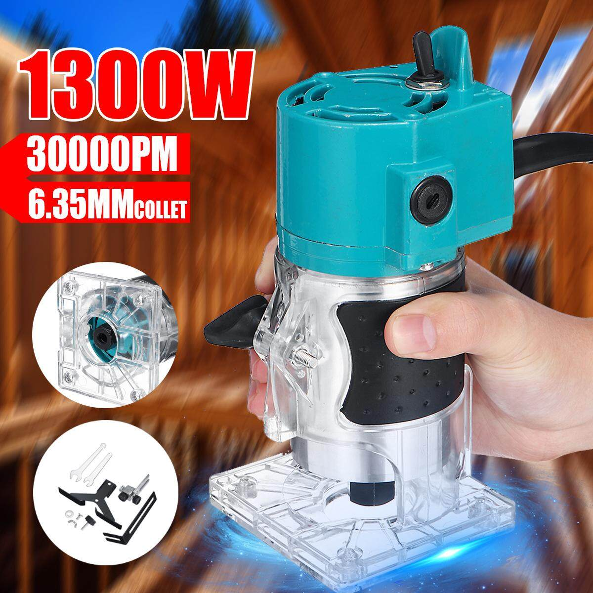 220V 1300W Electric Hand Trimmer Durable Wood Laminate Palm Router Joiner Tool DIY Woodworking Trimming Drilling Edge Cutter