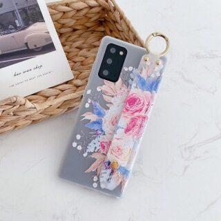 Ốp điện thoại TPU chống sốc in hoa có dây đeo cổ tay cho Samsung s20 ultra note 10 9 a21s a31 a41 a51 a71 a81 a91 m51 s8 s9 s10 plus s10e thumbnail