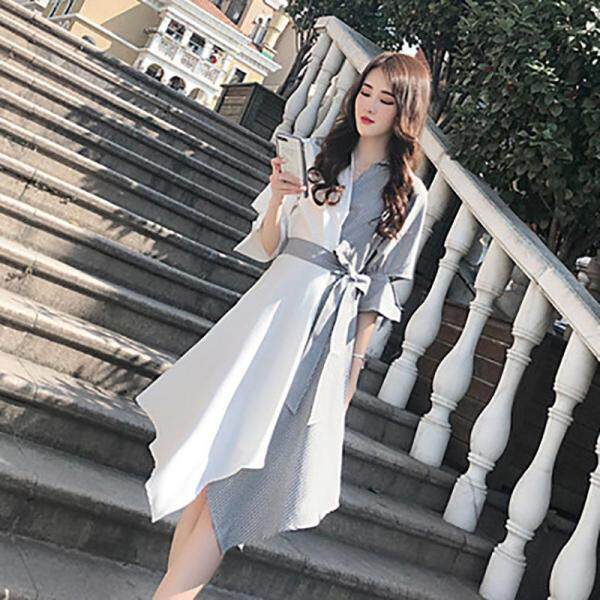 Váy sơ mi ngọt ngào phối 2 màu kiểu không đối xứng có nơ cột eo tôn dáng phong cách Hàn Quốc - Fashion Girl XLY - INTL