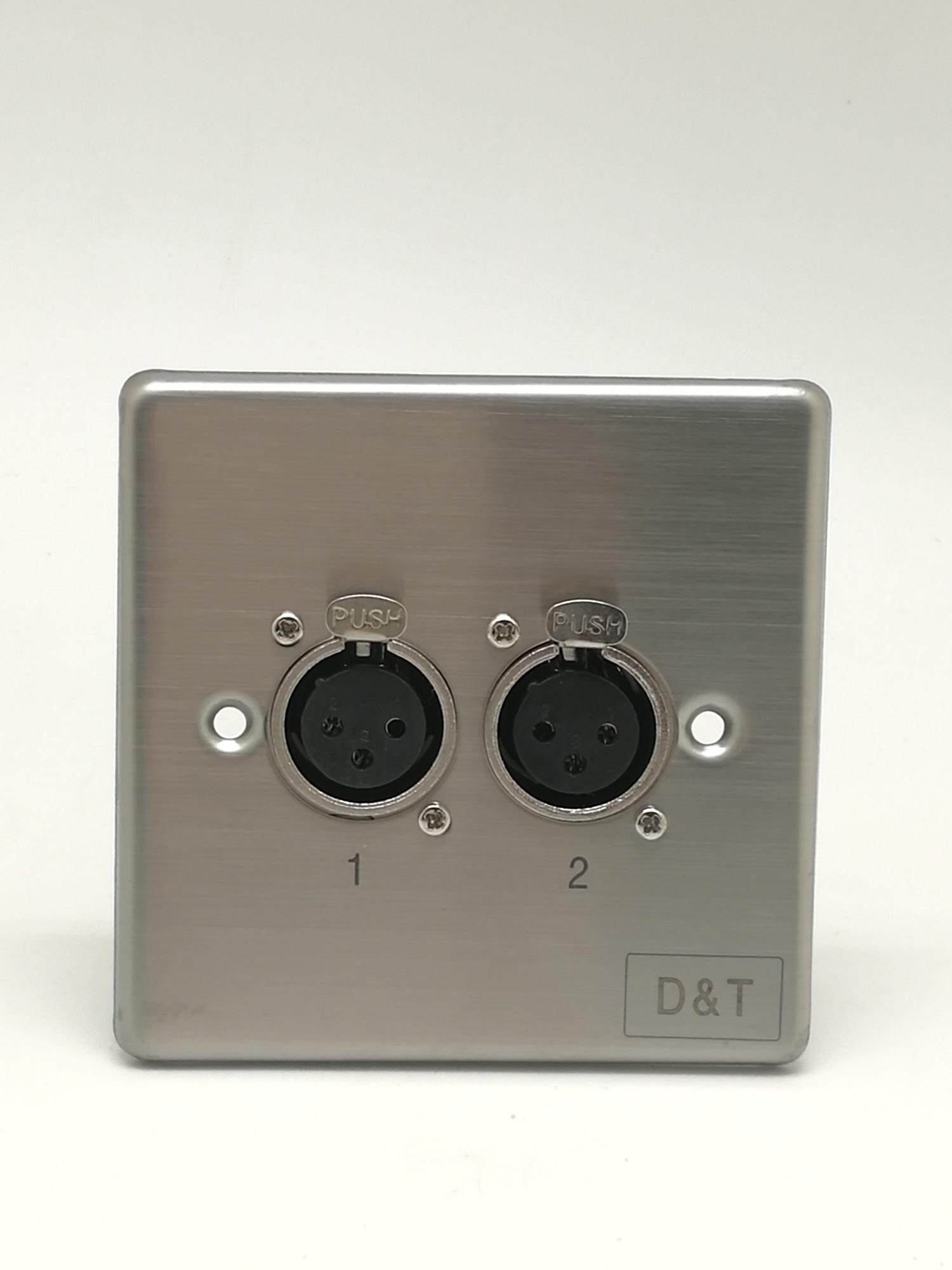 D&T Dual XLR Female 3 x 3 Metal Wall Plate - CMMTDT-337 Malaysia