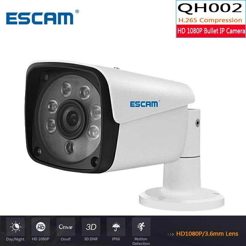 ESCAM QH002 HD 1080P IP Camera ONVIF H.265 P2P IR Bullet Camera with Smart Analysis Function