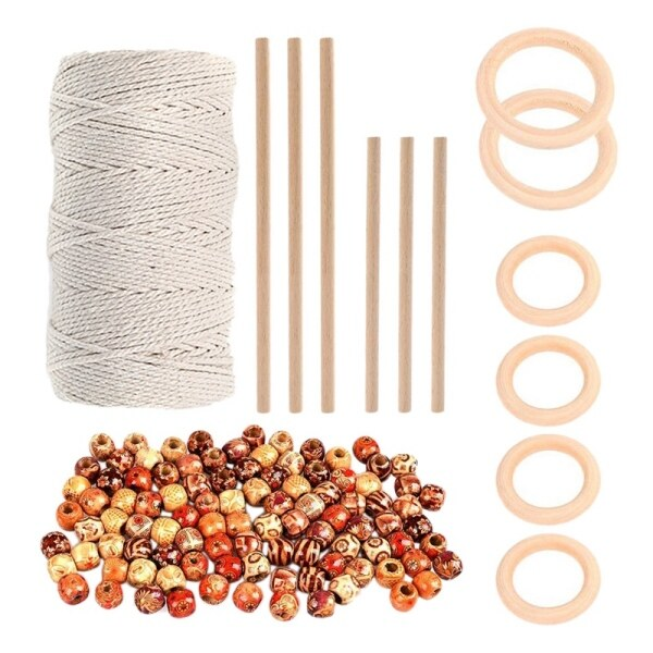 109 Yards 3mm Cotton Cord with Wood Ring Wooden Sticks and Painted Wooden Beads for DIY Plant Hangers Crafts Knitting