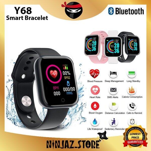 [🔥Malaysia 6Months Warranty🔥] Y68 Smart Watch Fitness Digital Heart Rate Jam Tangan Wanita Lelaki Watch Men Watch Malaysia