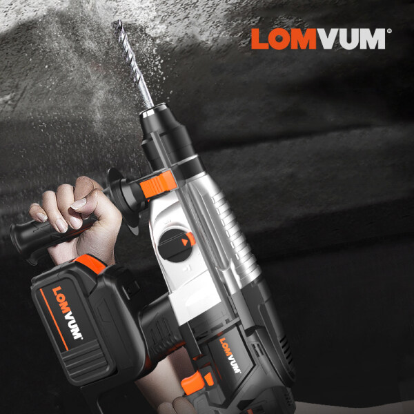 LOMVUM  Brushless Rotary Hammer Lithium-Ion  Multifunctional Hammer Drill Electric Drill Hammer 21V Electric Hammer Function Hammering Machine Drilling Concrete Tool Demolition Kit
