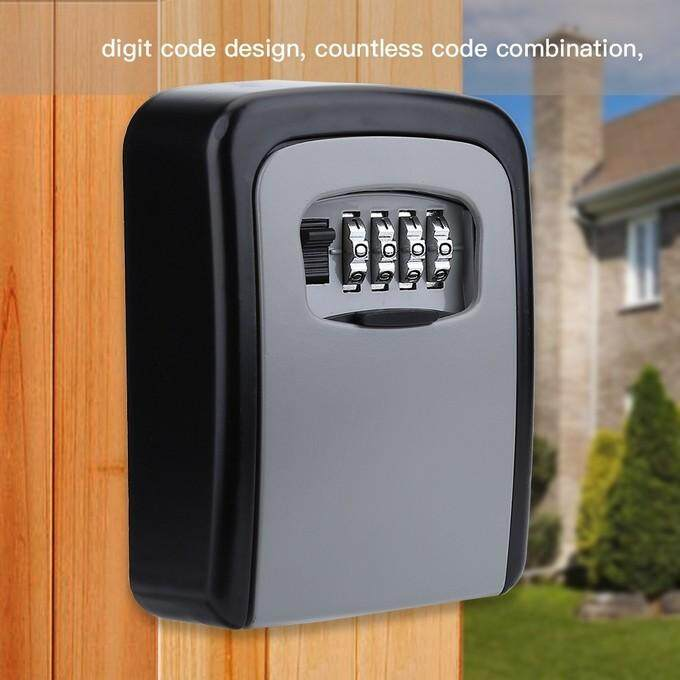 Outdoor Wall Mount Key Safe Box 4 Digit Code Secure Lock Storage