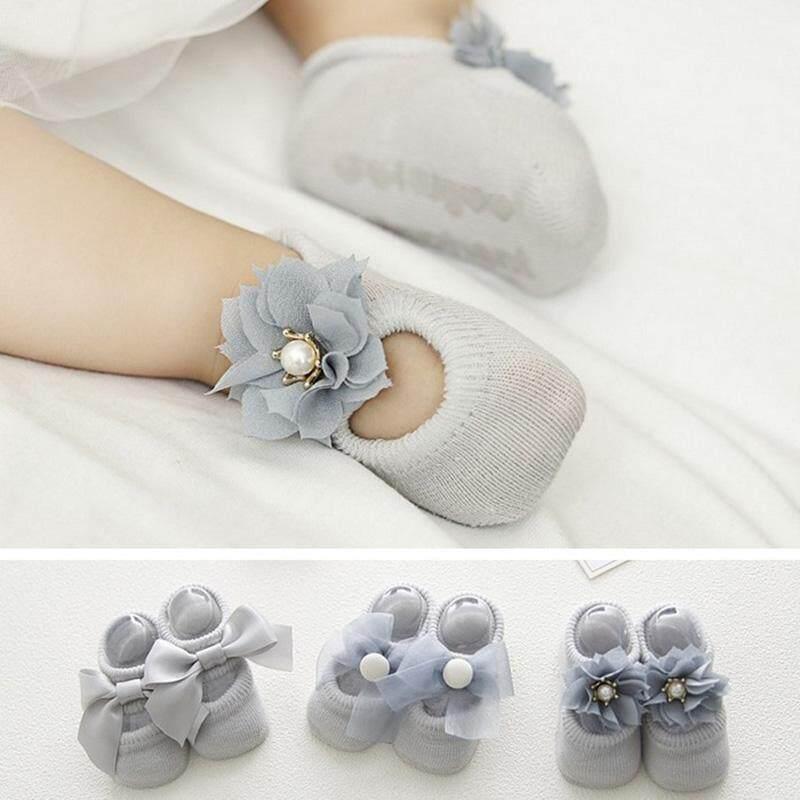 9dc3e95858c6 3 Pairs Lot Lace Flower Newborn Baby Socks Cotton Anti-Slip Kids Floor Socks