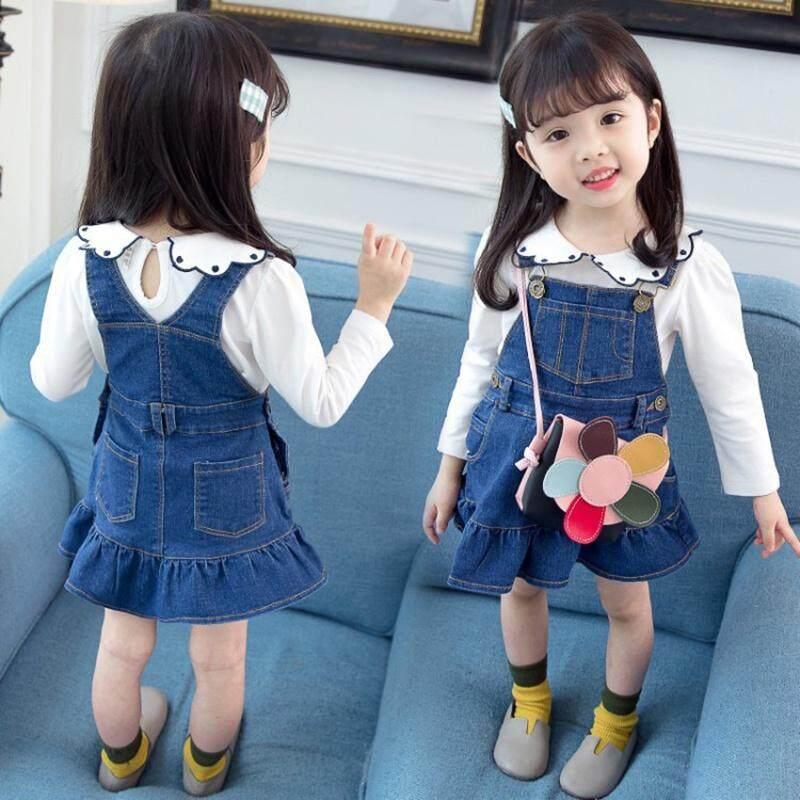 Giá bán Trẻ em Thu Đông Bé Gái Dễ Thương Denim Màu Trơn Không Tay Không Đều HEM Ngọt Công Chúa Váy Yếm
