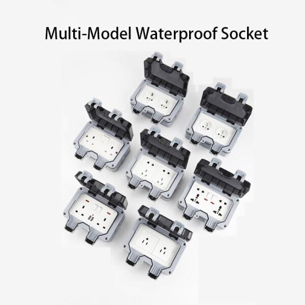 16A IP66 Outdoor Waterproof Socket Bathroom Waterproof And Splash-Proof Wall Socket Outdoor Rainstorm-proof Socket British Standard With USB Leakage Charging Socket