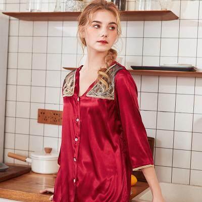 สไตล์ใหม่ผ้าไหมแขนยาวเสื้อผ้า 2 ชิ้นชุดชุดนอนชุดนอนผู้หญิง