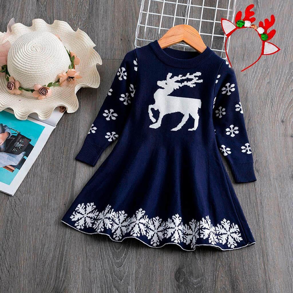 Winter Toddler Baby Girls Crochet Christmas Deer Knit Dress+Hairband Outfits NEW