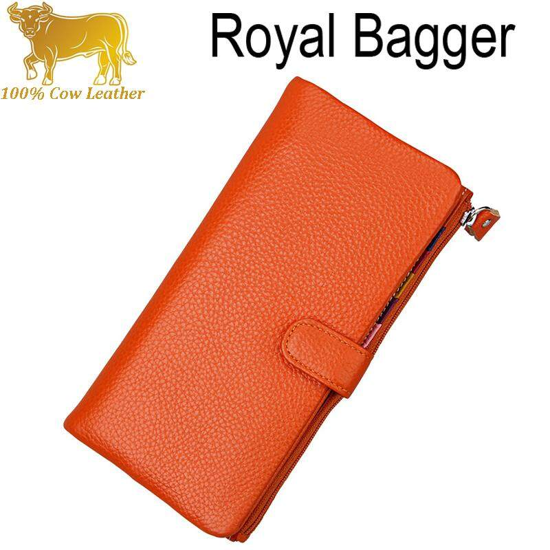 Royal Bagger Italian 100% Genuine Cowhide Purse Womens Long Wallet Elegant Multi-Card Multi-Function Wallets Card Bags Fashion For Ladies Girls