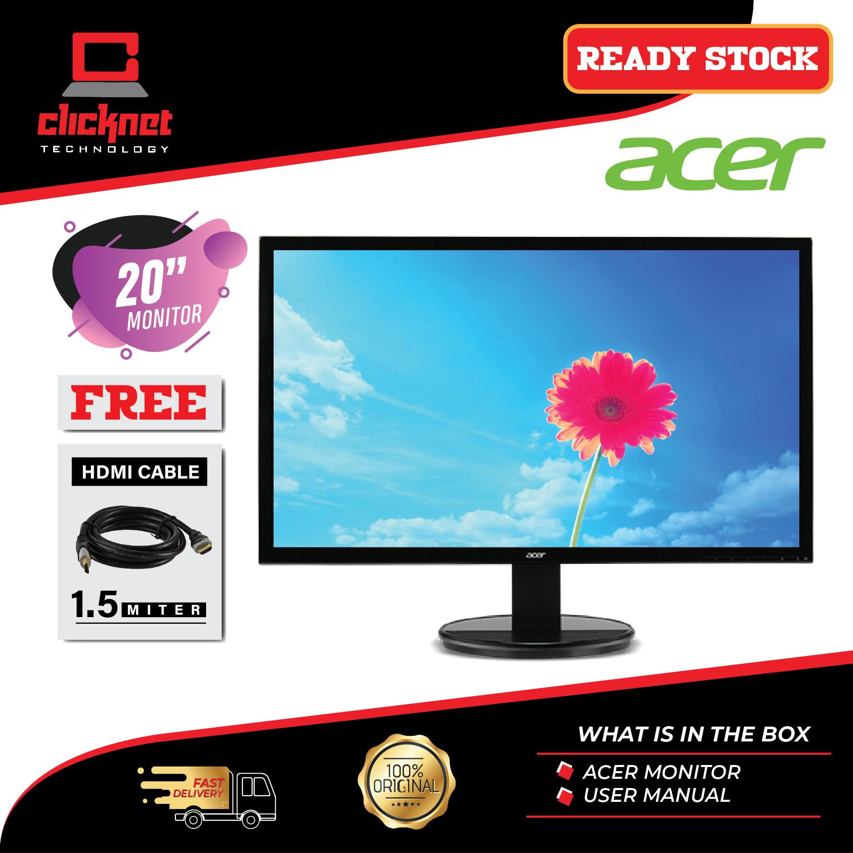 Acer K202HQL Abix 19.5  LCD Monitor (HDMI, VGA, 3 Years Warranty) Malaysia